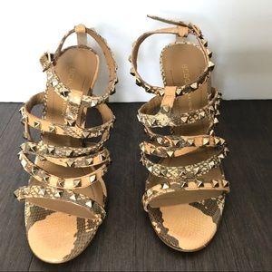 BCBG Women's Strappy Leather Studded Heels